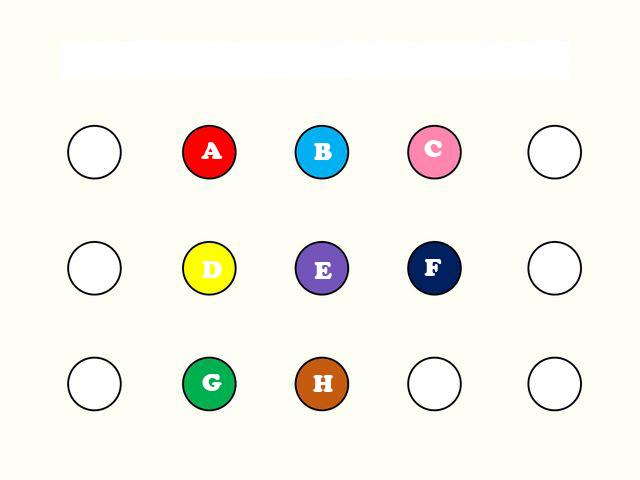 أمامك صورة موجود بها عدة نقاط ملونة كل نقطة مكتوب عليها حرف باللغة الإنجليزية عليك أن تختار الحرف الذي تعتقد أنه مكتوب على الدائرة الموجودة بمنتصف الصورة