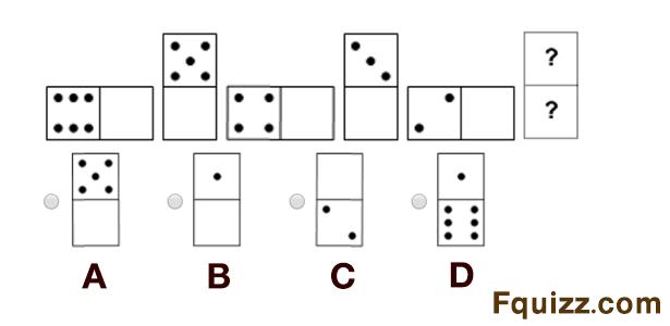 أي قطعة من الدومينو تكمل هذه السلسلة ؟