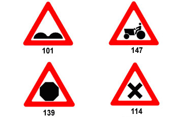 أي من هذه الإشارات تحذر السائق من القيادة حسب وضع الطريق؟
